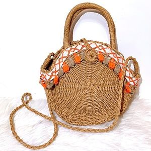 Circle Straw Bag with Tassels and Embroidery